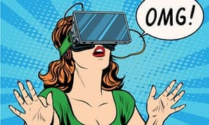 brunette wearing green top looking through VR headset with OMG speech bubble