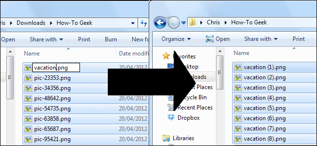two open computer folders with black movement arrow demonstrating file renaming and transfer VR