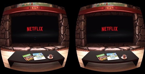 Netflix VR theater through virtual reality goggles with three magazines on coffee table with cup and saucer and stone fireplace