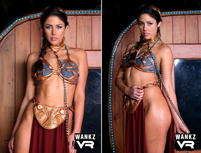 Wanks VR cosplay with curvy Anna Morna posing with her body to the side