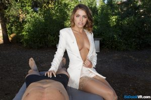 teasing adriana chechik showing cleavage and touching guys cock pov badoink vr