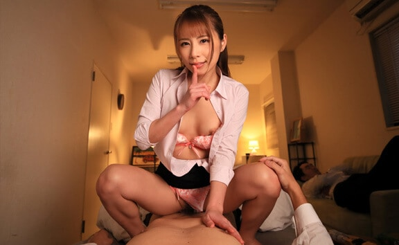 Sex Like Real Japan Asian girl getting fucked in cowgirl position wearing open blouse with tits out VR