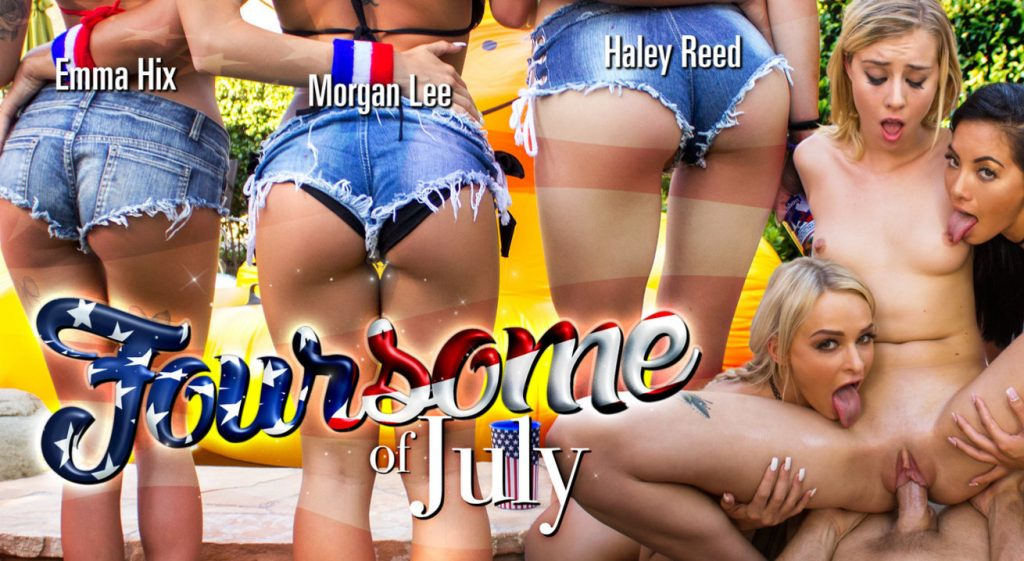Naked Haley Reed getting fucked in cowgirl position with Emma Hix Morgan Lee licking her Foursome of July VR