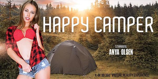 Happy Camper VR Anya Olsen posing outside in red bra jean shorts black and white plaid shirt
