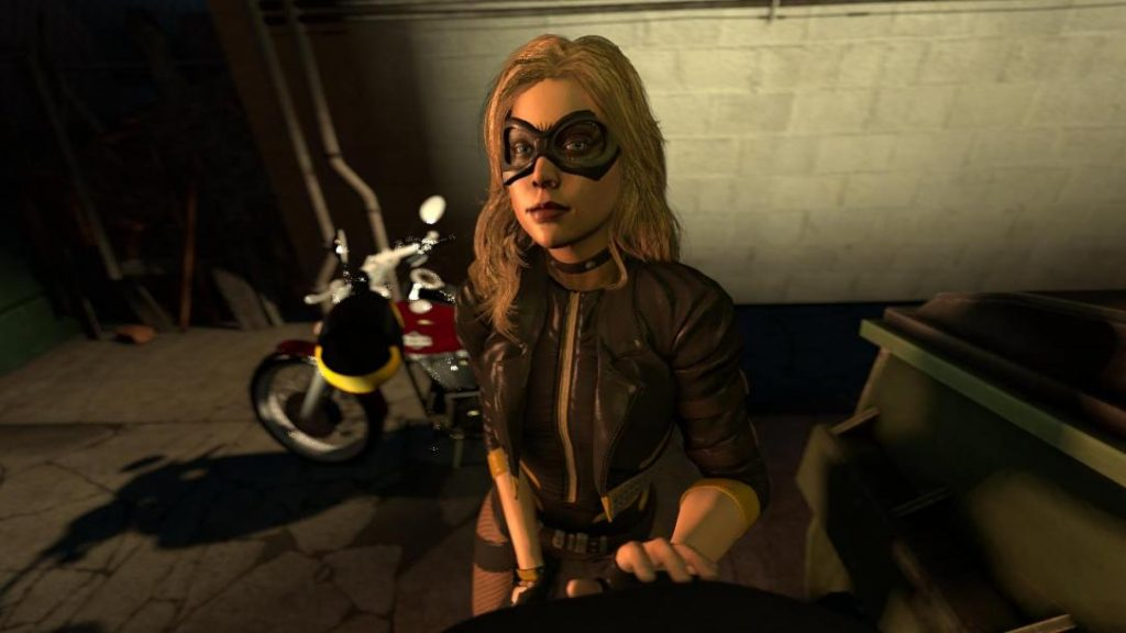 3D animation of DC's black canary about to give a blowjob in an alley