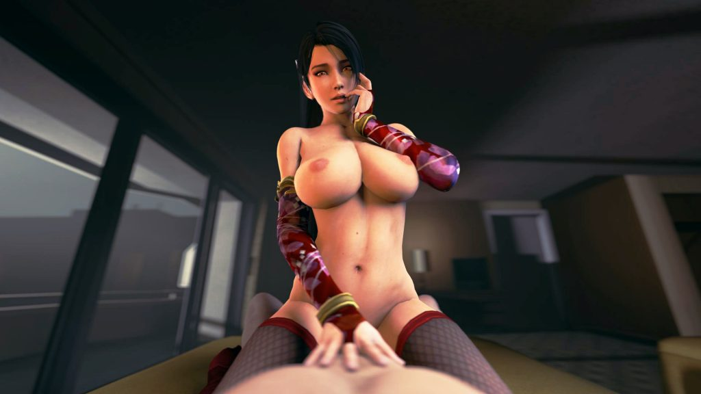 Dark-haired 3D babe with huge boobs wearing red arm sleeves and stockings on top of a dude in front of a window