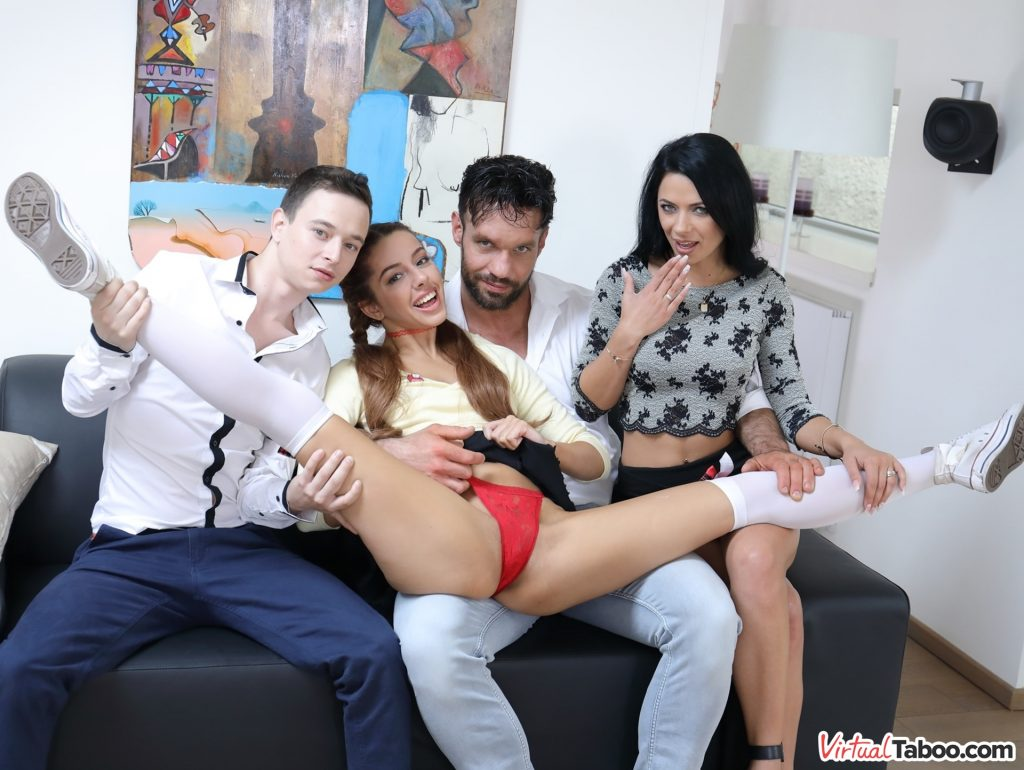 vanna bardot show red panty with family on couch