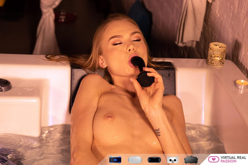 nancy a hot vr porn star in tub sucking on a black dildo naked